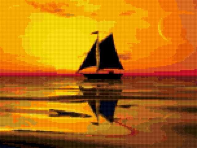 Яхта на закате, море, яхта,
