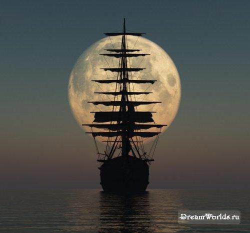 Корабль на фоне луны, оригинал