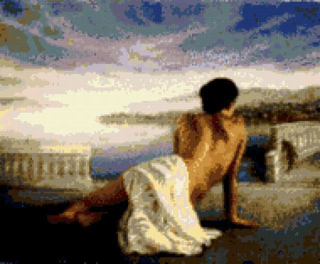 Девушка у моря схема вышивки 15