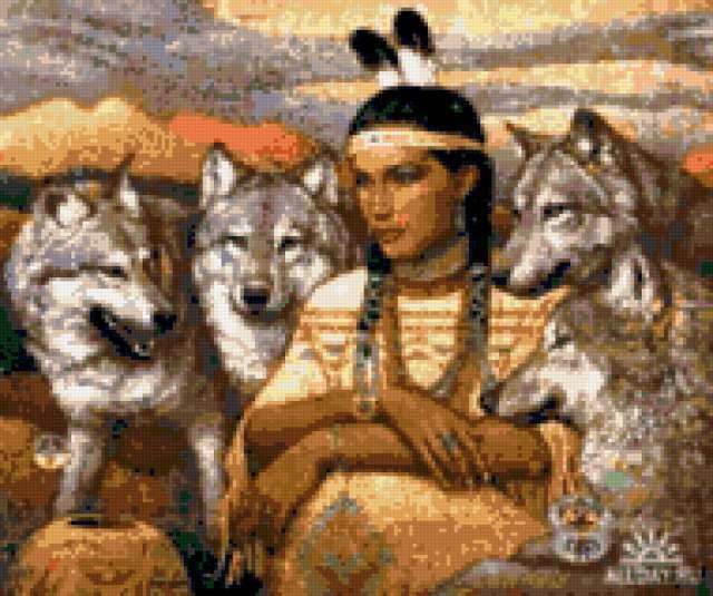 Индеец и волки, природа.