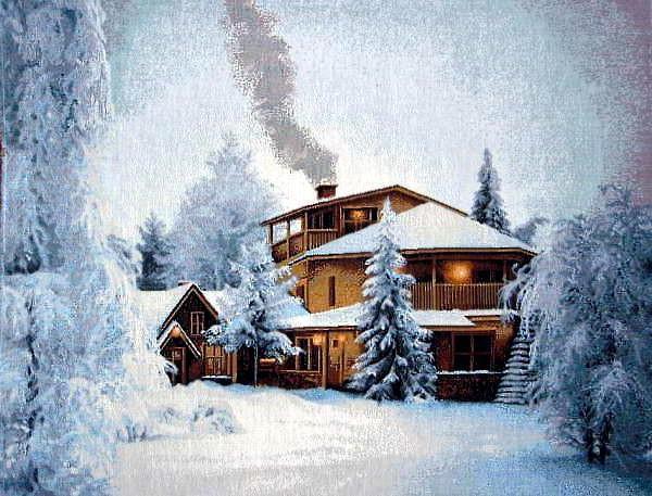 Домик в зимнем лесу, оригинал