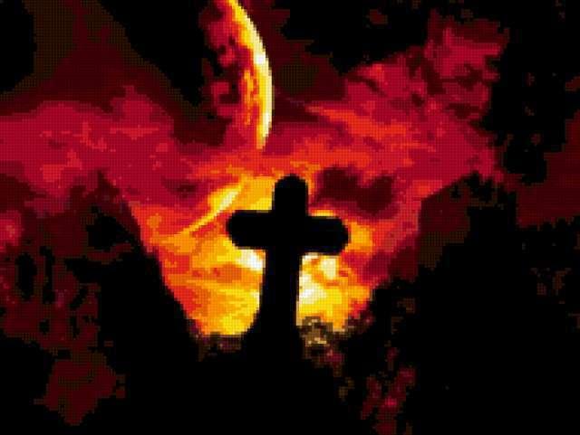 Крест, готика, кладбище, крест