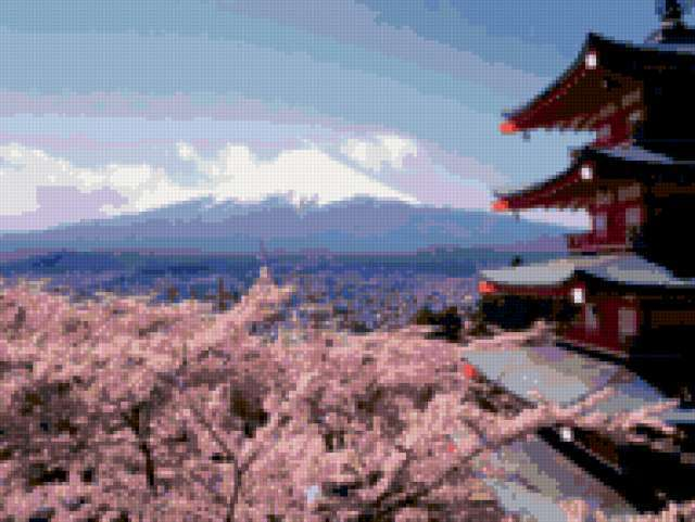 Сакура, пагода и Фудзияма,