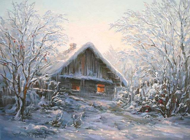 Зима в деревне, пейзаж, зима,