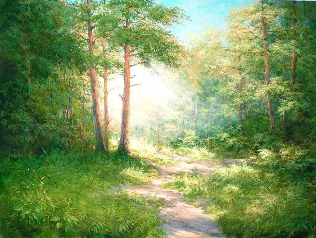Солнечный лес, пейзаж, солнце,