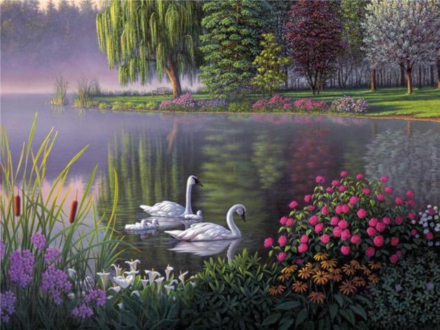 Ах белый лебедь на пруду...,