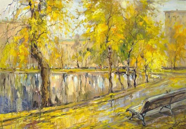 Чистые пруды, осень, пейзаж,
