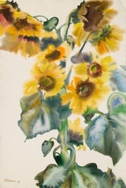 Подсолнухи акварель, цветы