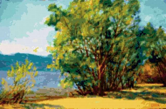 На берегу волги, пейзаж,