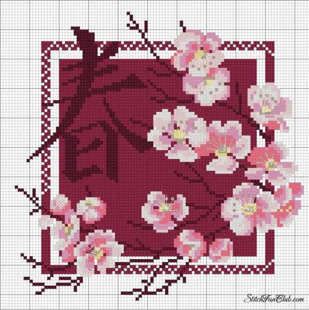 Схема вышивки ветки сакуры