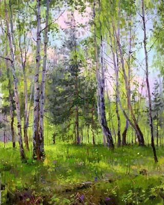 Летний лес, пейзаж, картина,