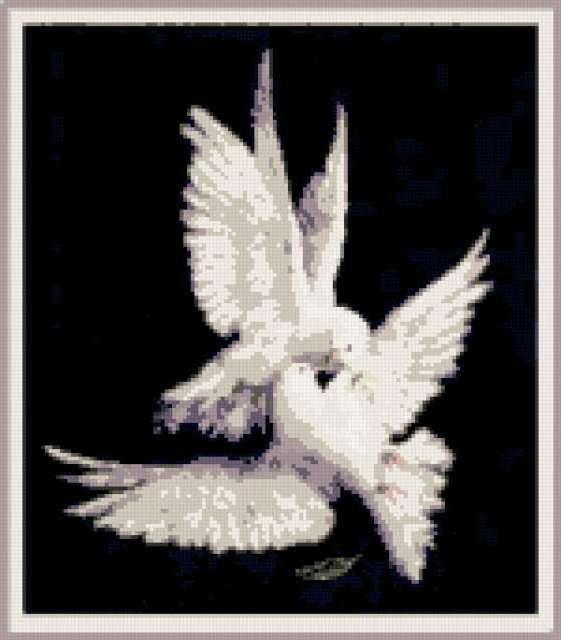 схемы вышивки голубей и лебедей
