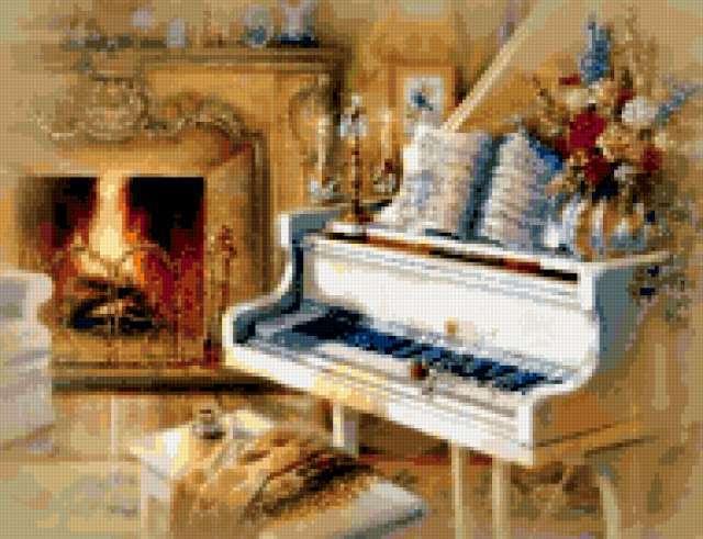 Рояль у камина, предпросмотр