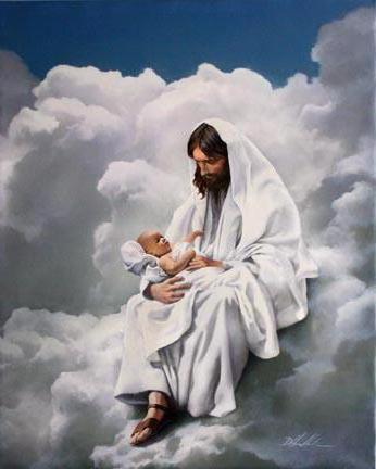 Иисус на облаке с младенцем,