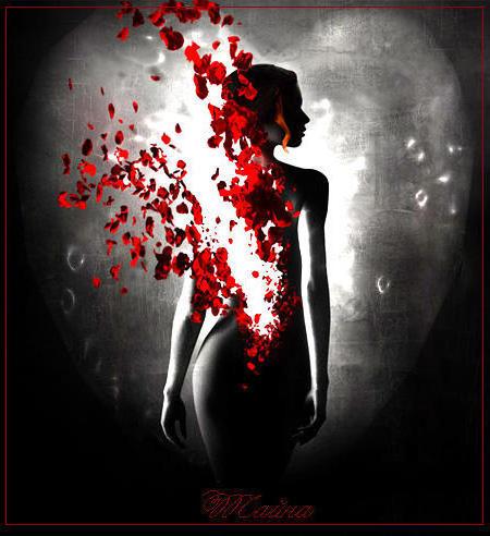 Девушка в лепестках роз,