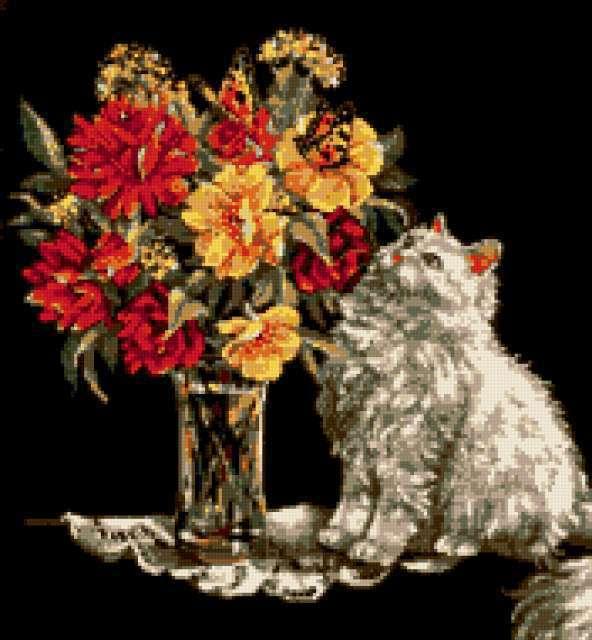 Белый кот и цветы,