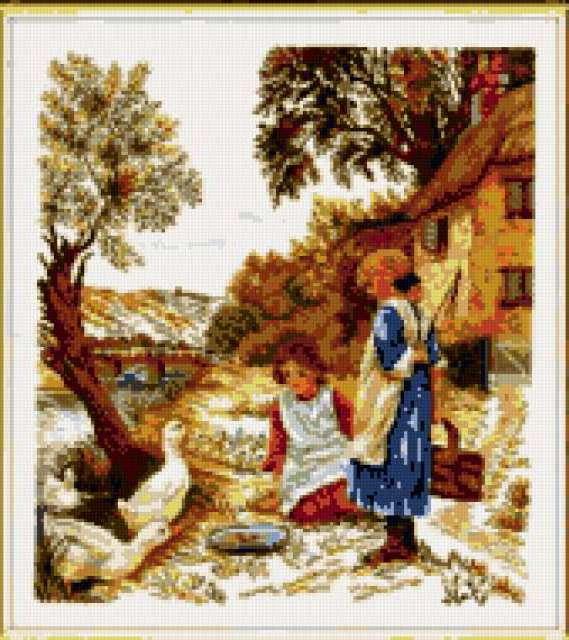 Девочка с гусями, предпросмотр