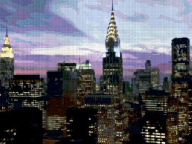 Ночное небо Нью-Йорка, города,