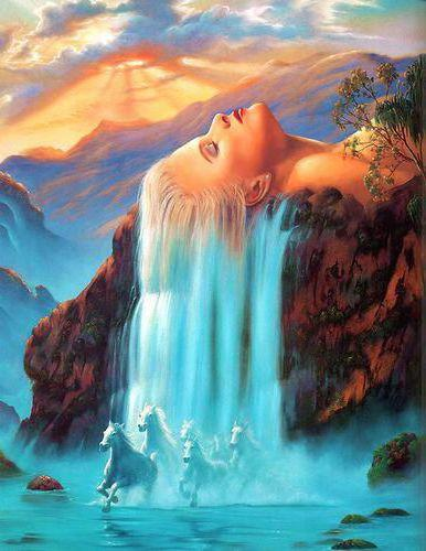Вышивка девушка и водопад