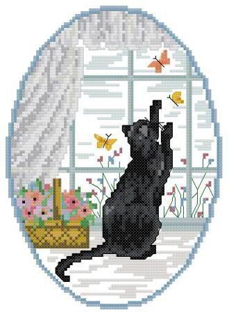 схему вышивки «Кошка на