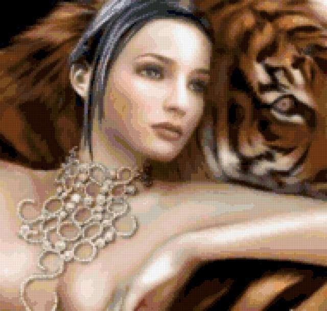 Девушка с тигром, девушка,
