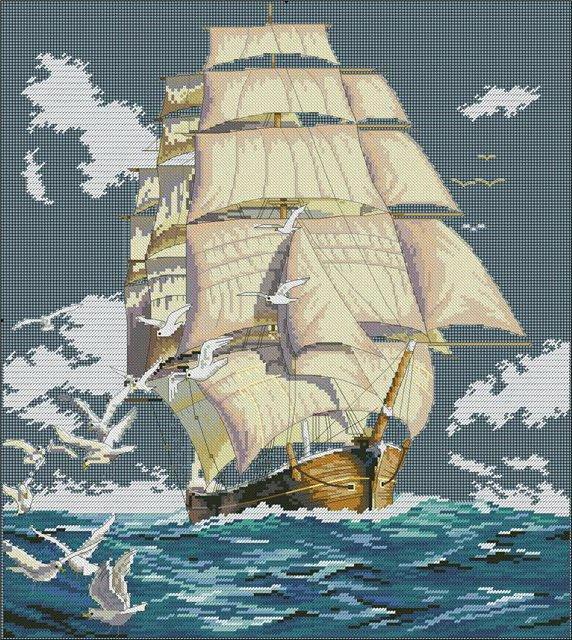 Схема вышивки море и корабль