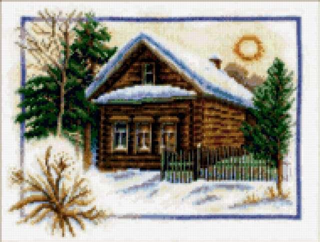 Зимнее утро, домик