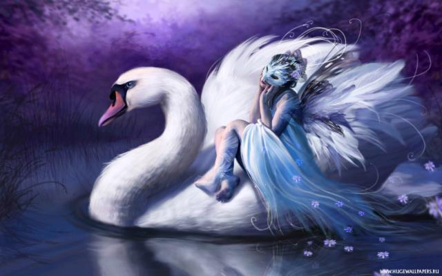 Девушка в маске: лебедь,