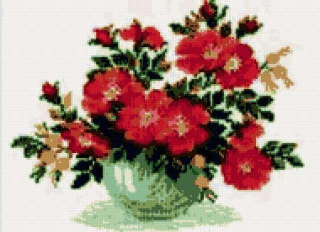 Ваза с шиповником, цветы,