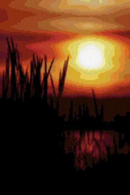 Закат на озере, предпросмотр