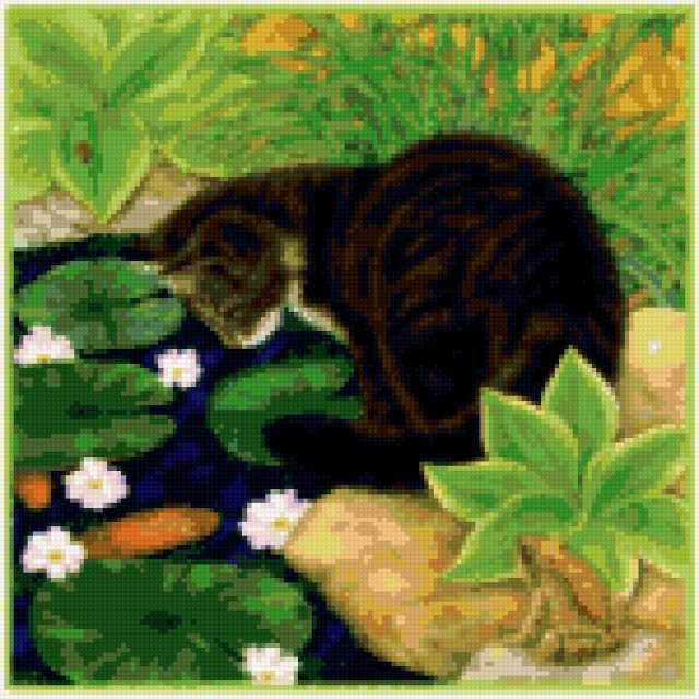Кот и кувшинки, предпросмотр