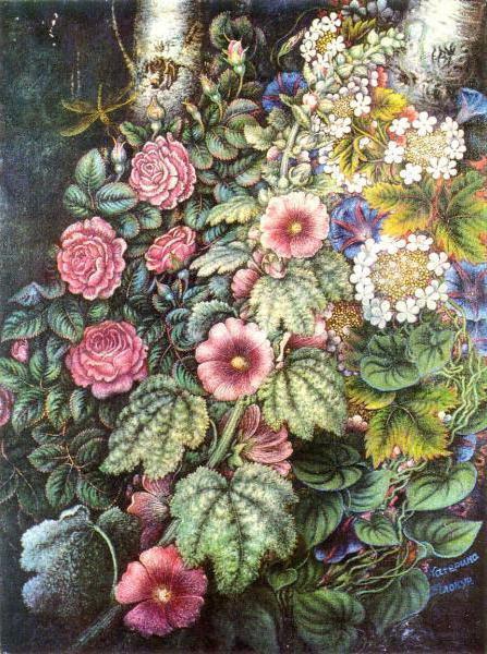 Мальвы и розы, оригинал