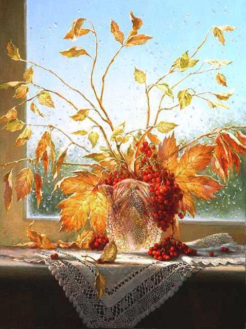 Букет осенних листьев, окно,