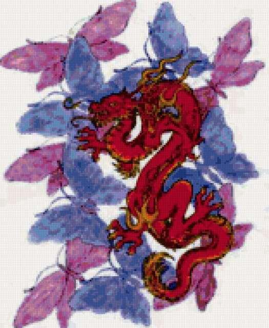 Красный дракон, дракон, китай,