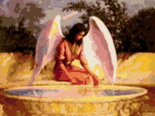 Ангел у фонтана, иконы, ангел,