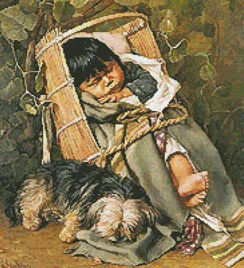 Мальчик с собакой, оригинал
