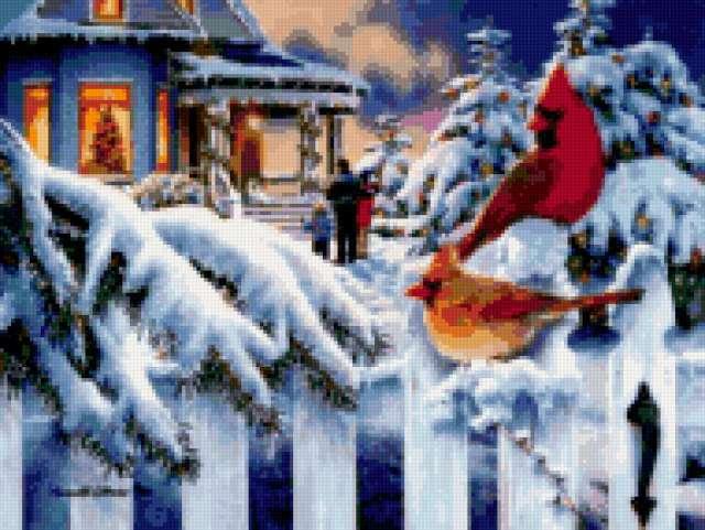 Снегири, зима, снегири, домик,