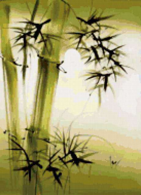 Зеленый бамбук, натюрморт