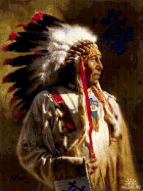 Схема вышивки индейцы - Схемы
