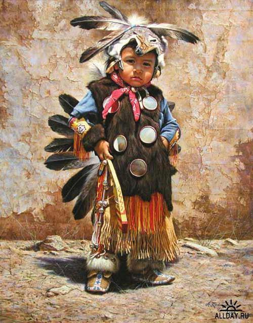 Индейцы, дети, ребенок