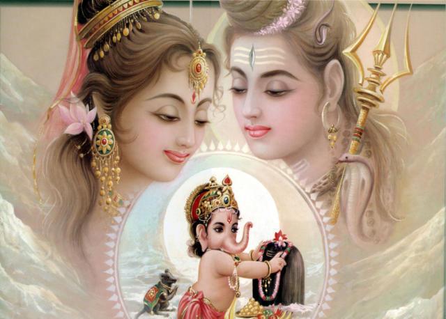 Парвати Шива и Ганеша,