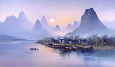 H Leung_Village at Dusk, h leung