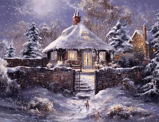 Зимний вечер, домик