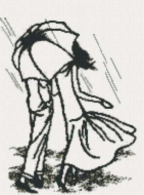 Двое под дождем, любовь, люди,