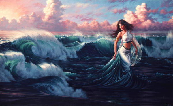 Волна, море, девушка, фэнтези,