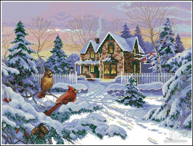 К схеме вышивки «Зимний вечер»
