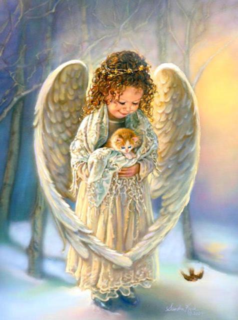 Ангел с котёнком.