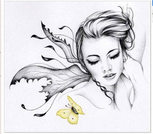 Жёлтая бабочка, девушка