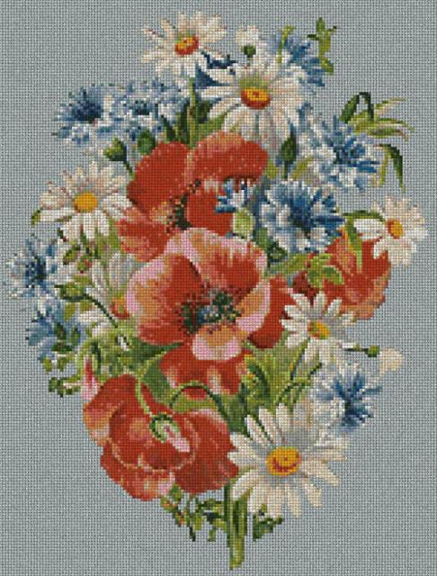 Весенние цветы, маки, ромашки,