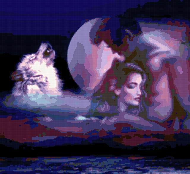 поцелуй, волк, ночь, луна,